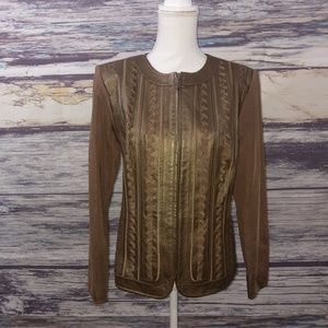 Nygard brown leather jacket with detailing size M
